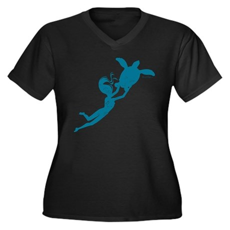 Sea Turtle - Women's Plus Size V-Neck Dark T-Shirt