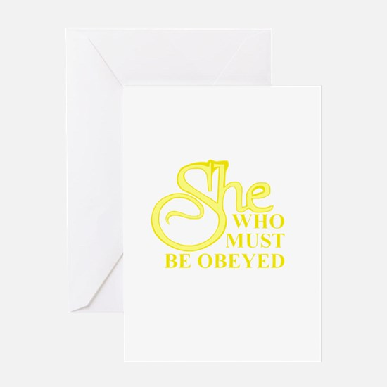 She Who Must Be Obeyed logo Greeting Cards