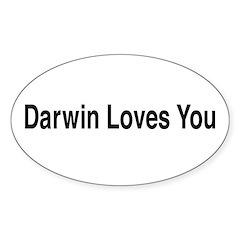 Darwin Loves You Oval Sticker (10 pk)