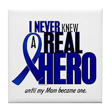 Never Knew A Hero 2 Blue (Mom) Tile Coaster