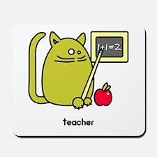 Teacher Kat - Green Cat Design Mousepad