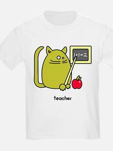 Teacher Kat - Green Cat Design Kids T-Shirt