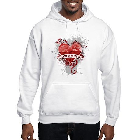 Heart Swimming Hooded Sweatshirt