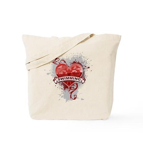 Heart Swimming Tote Bag