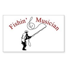Fishin Musician Rectangle Decal
