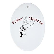 Fishin Musician Oval Ornament