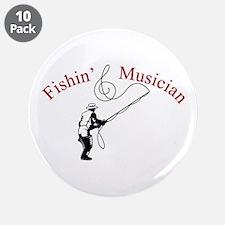 "Fishin Musician 3.5"" Button (10 pack)"