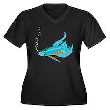 Siamese Blue Women's Plus Size V-Neck Dark T-Shirt