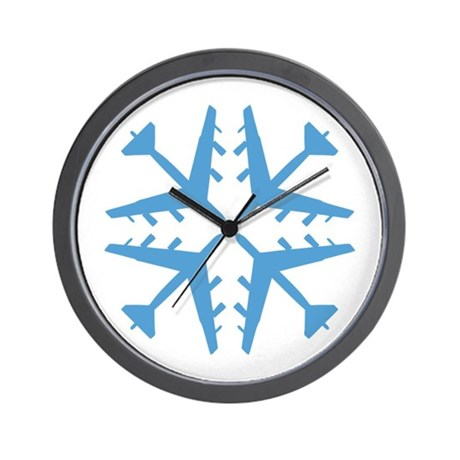 B-52 Aviation Snowflake Wall Clock