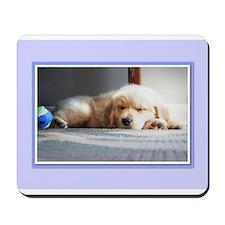 Sleeping Golden Puppy Mousepad