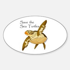 Save Sea Turtles Oval Decal
