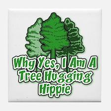 Tree Hugging Hippie Tile Coaster