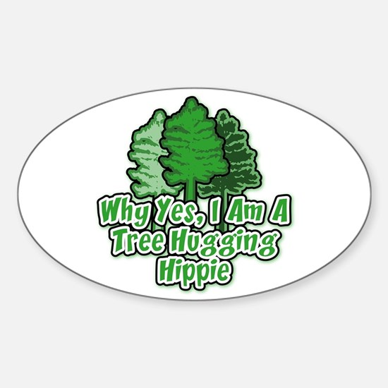 Tree Hugging Hippie Oval Decal