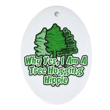 Tree Hugging Hippie Oval Ornament