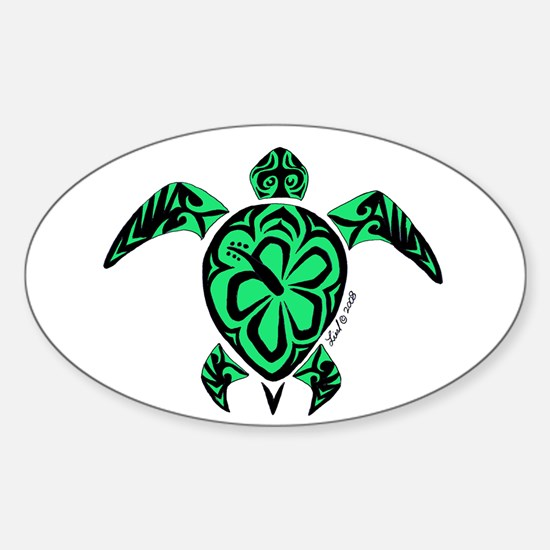 Tribal Turtle Oval Bumper Stickers