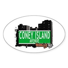 CONEY ISLAND AVENUE, BROOKLYN, NYC Oval Decal