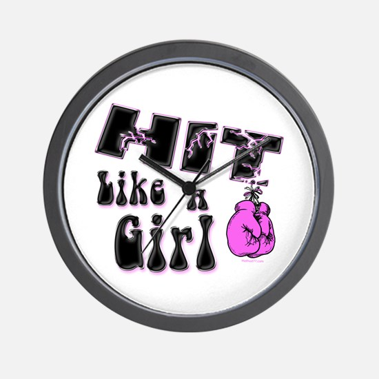 Hit Like A Girl Wall Clock