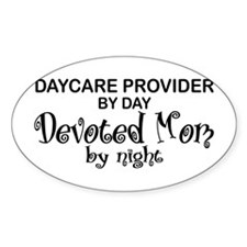 Devoted Mom Daycare Provider Oval Decal