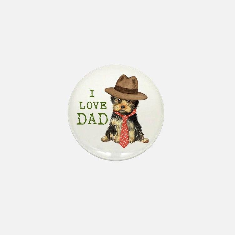 Yorkie I Love Dad Mini Button