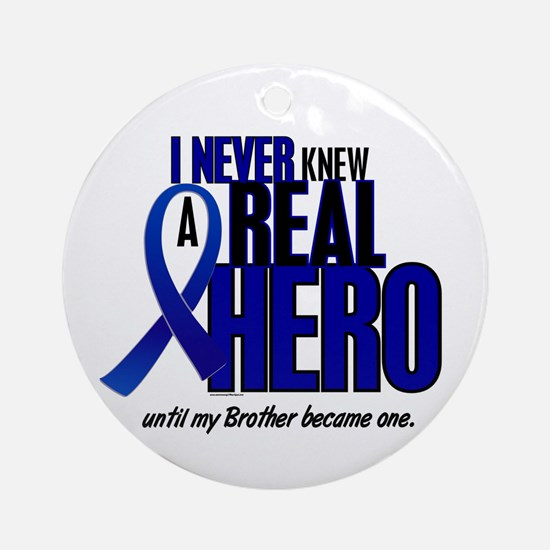 Never Knew A Hero 2 Blue (Brother) Ornament (Round