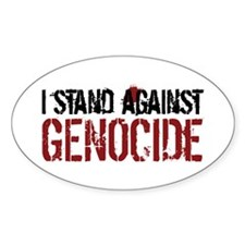 I Stand Against Genocide Oval Sticker (10 pk)