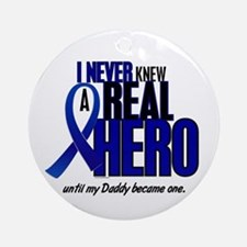 Never Knew A Hero 2 Blue (Daddy) Ornament (Round)
