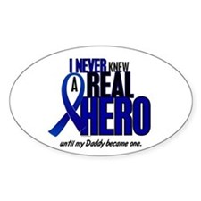 Never Knew A Hero 2 Blue (Daddy) Oval Decal