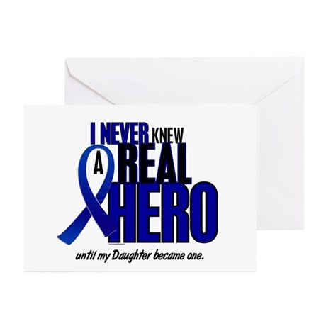Never Knew A Hero 2 Blue (Daughter) Greeting Cards