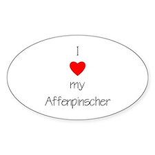 I Love My Affenpinscher Oval Decal