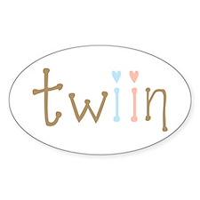 Twin Boy and Girl Twiin Oval Decal
