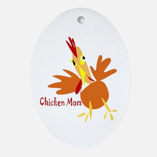 Chicken Mom Oval Ornament