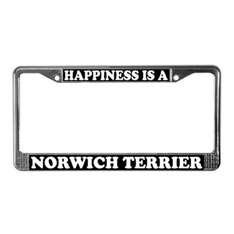 Happiness Is A Norwich Terrier License Plate Frame