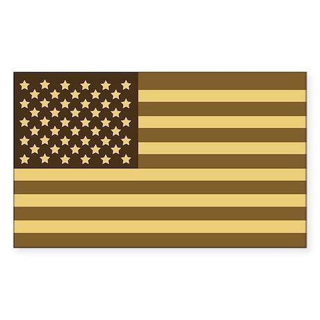 US Flag (Desert Sand) Rectangle Sticker
