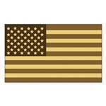 US Flag (Desert Sand) Rectangle Sticker 50 pk)