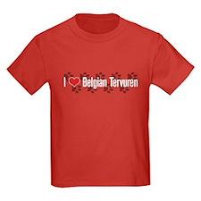 I heart Belgian Tervuren Kids Red T-Shirt