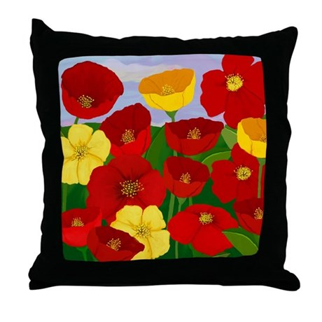 Poppies in Red & Yellow Throw Pillow