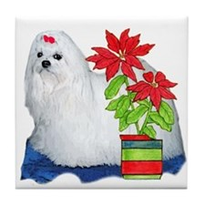 Maltese Christmas Tile Coaster