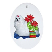 Maltese Christmas Oval Ornament