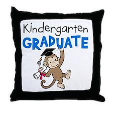 Kindergarten Graduate - Monkey (Blue) Throw Pillow