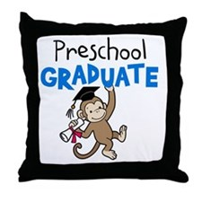 Preschool Graduate - Monkey (Blue) Throw Pillow