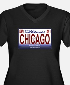 Chicago License Plate Women's Plus Size V-Neck Dar