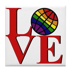 LOVE with Rainbow Globe Tile Coaster