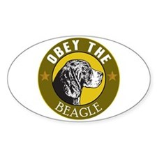 Obey The Beagle Oval Decal