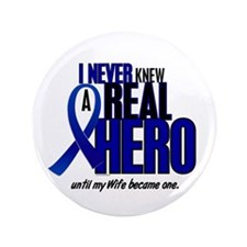 """Never Knew A Hero 2 Blue (Wife) 3.5"""" Button"""