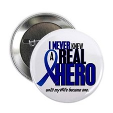 "Never Knew A Hero 2 Blue (Wife) 2.25"" Button"