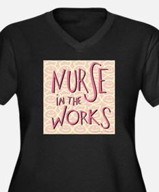 Nurse in the Works Women's Plus Size V-Neck Dark T