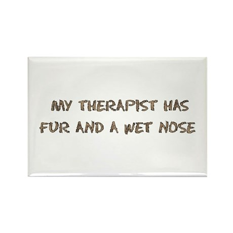Furry Dog Therapist Rectangle Magnet (100 pack)
