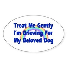 Dog Over Rainbow Bridge Oval Decal
