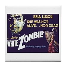 White Zombie Tile Coaster