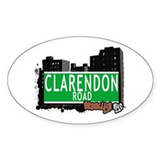 CLARENDON ROAD, BROOKLYN, NYC Oval Decal